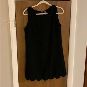 Black Scalloped Hem Mini Dress